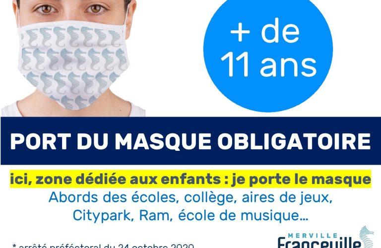 Obligation de port du masque aux abords de l'ensemble des établissements scolaires du département et sites d'accueil de la petite enfance