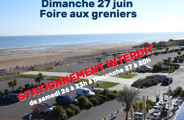 Parking de la plage dédié à la foire aux greniers dimanche 27 juin